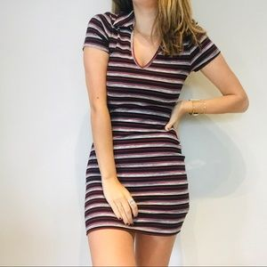 NWT UO striped collared bodycon ribbed dress